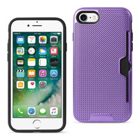 Reiko REIKO IPHONE 7 SLIM MESH SURFACE ARMOR HYBRID CASE WITH CARD HOLDER IN PURPLE