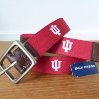 NWT Jack Mason Indiana University embroidered belt, IU Alumni, $80 retail price