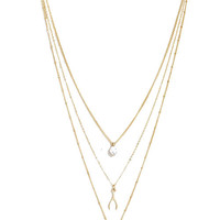 """""""Hope"""" Triple Layered Necklace in Gold"""