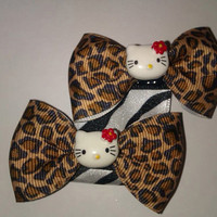 Hello Kitty Leopard Print Hair Bow Set
