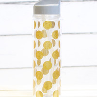Glitter + Dots Loop Water Bottle Gold {18 oz}