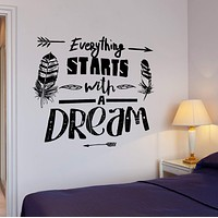 Wall Vinyl Decal Motivation Quote Everything Starts With Dreams Home Decor Unique Gift z4279