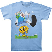 Adventure Time Men's  Finn Kick Jump T-shirt Blue Rockabilia