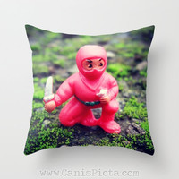 Ninja in Nature Throw Pillow 16x16 Graphic Print Cover Gift for Him Man Cave Brother Boyfriend Fighting Star Shuriken Red Knife Toy Fun Moss