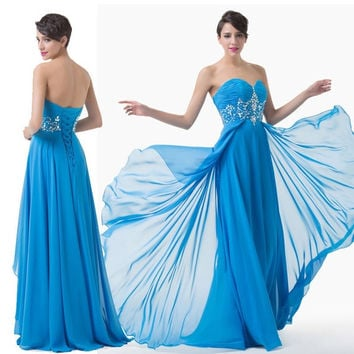 Grace Karin Long Chiffon Bridesmaid Evening Formal Party Ball Gown Cocktail Dress = 1956809412