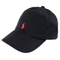 Polo Ralph Lauren Baseball Cap Black / Red Pony Size 8-20