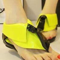 Cute British Style Retro Collar Candy Color Thong Sandal