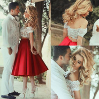 Two Pieces Off Shoulder Homecoming Dress, White Lace Red Homecoming Dresses
