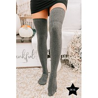 Warm & Toasty Thigh High Socks (Dark Grey)
