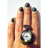 Steampunk Pocket Watch Gothic Poison Ring Victorian Style Amber Glass