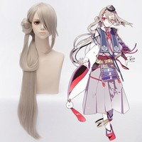 Anime Touken Ranbu Online Imanotsurugi Cosplay Wig Halloween,Party,Stage,Play Lotus gray Long Hair High quality