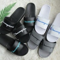 """Champion"" Summer Fashion Letter Slippers Men Home Sandals Flats Shoes"