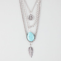 Full Tilt 3 Row Peace/Turquoise/Leaf Necklace Silver One Size For Women 25892214001