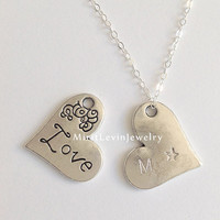 2 sides,Initial Necklace,love and a star,Personalized gift,choker Jewelry,pendant,customized gift idea for Mom,Sister