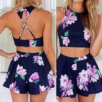 Navy Printed Short Chinese-Style Chest Covering Type Backless Top Sport Suit Two-Piece Outfit