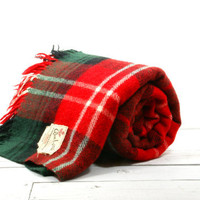 Wool Blanket Throw - Stadium Red Green White Plaid