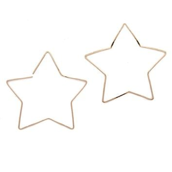 Large Star Hoops - Gold