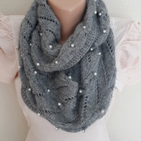 Pearl Scarf, Gray Scarf Knitting Scarf Infinity Scarf, Fashion Scarf, Winter Scarf, Women Scarf
