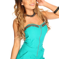 Teal Strapless High Polish Metal Bedding Boning Accent Sexy Summer Romper