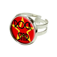 Rock Star - Music - Love Silver Plated Adjustable Novelty Ring