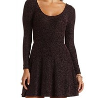 Long Sleeve Glitter Skater Dress by Charlotte Russe - Pink Metallic