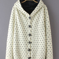 Heart Print Front Button Hooded Knitted Cardigan
