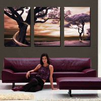 3 Piece Free Shipping Modern Wall Art Home Decoration Purple Tree Large Living Room Oil Painting Picture on Canvas Prints F/1190