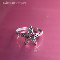 Star silver ring - 92.5 Sterling Silver Ring - Chose one from size 5 - 9