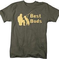 Shirts By Sarah Men's Matching Father Son Best Buds T-Shirt (Father's Half)