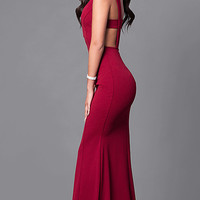 Long Open-Back Prom Dress with Low V-Neck