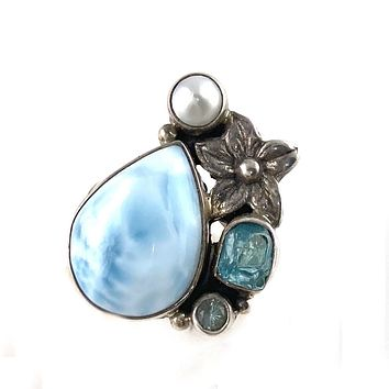 Larimar, Apatite Rough & Blue Topaz Sterling Silver Plumeria Ring