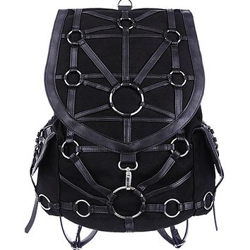 Restyle Dark Side Gothic O-rings & Black Harness Design Witchcraft Backpack