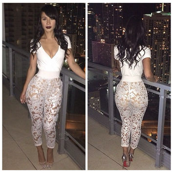 White Short Sleeve V-Neck Floral Lace Jumpsuit