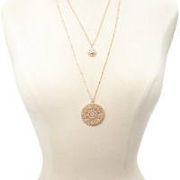 Ornate Pendant Layered Necklace