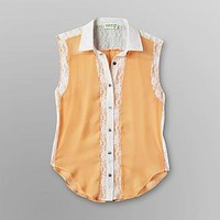 Dream Out Loud by Selena Gomez Junior's Sleeveless Lace Inset Shirt