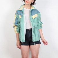 Vintage 80s Windbreaker Pastel Green Pale Yellow Blue Color Block Bomber Jacket 1980s Sporty Anorak Jacket Warm Up Track Jacket S M Medium L