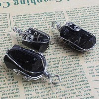 UMY Wire Winding Irregular Shape Stone Pendulum Natural Black Tourmaline Pendant Fashion Jewelry