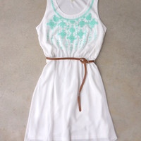 Song Bird Dress in White