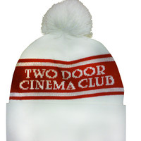 Two Door Cinema Club - Text Beanie Hat (White/Red) | The Official Webstore for Two Door Cinema Club Merchandise