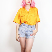 Vintage 1980s Blouse Bright Yellow Marigold Gold Windbreaker Top 80s New Wave Blouse Collared Shirt Sporty Boxy Boyfriend Shirt L Large XL