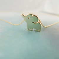 elephant necklace in gold or silver