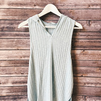 Ribbed Sleeveless Hoodie (Blue)