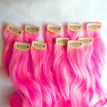 HOT PINK 100% Human Hair Extensions : Clip In Hair Extensions, Remy Hair Extensions, Neon Hair, Single Clip Extensions, Dip Dyed Hair