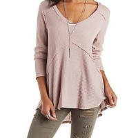 EXPOSED SEAM LONG SLEEVE TUNIC TEE