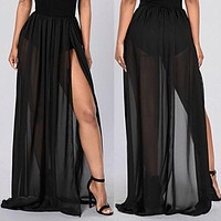 Women High Waist Empire See Through Sheer Side Split Skirt Black Solid Transparent Chiffon Pleated Maxi Long Skirt Summer Hot