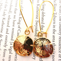 Shell gold earrings. Gold shell dipped in gold.