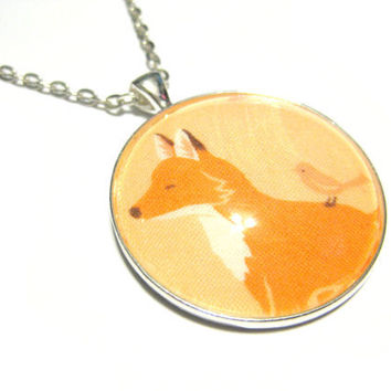 Fox Pendant, Fox Necklace, Silver Plated Necklace, Women's Jewelry, Glass Cabochon