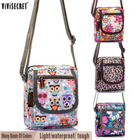 Women Small Messenger Bag Waterproof  Multi layer Cross body Cute Cartoon Owl Floral Printed Bags Mini Hobo Coin Phone Purse