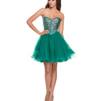 Ultra Green Rhinestone & Tulle Short Dress 2015 Prom Dresses