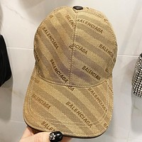 Balenciaga New fashion embroidery letter canvas cap fisherman hat Khaki